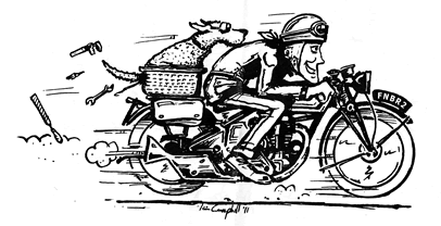 rick and finbar the dog on a motorbike - illustration